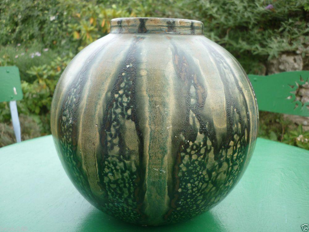 Vase en gres terre cuite peinte sud de la france coulures Peindre de la faience