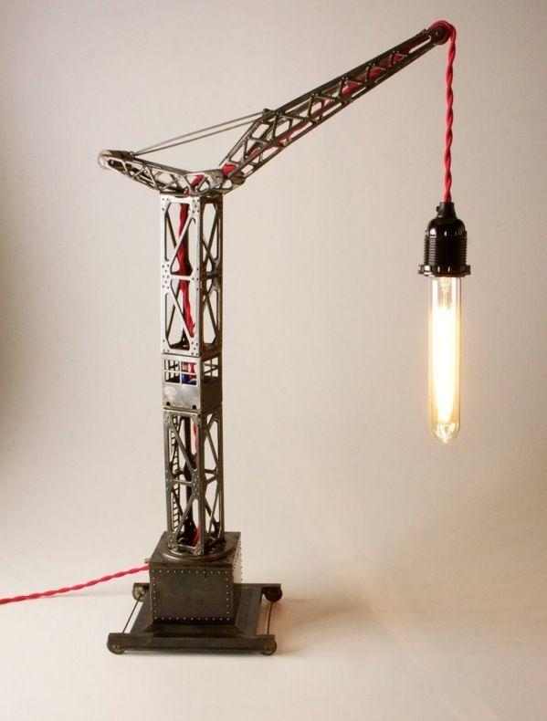 lampe grue jouet ancien joustra vintage industriel loft atelier recycled or upcycled. Black Bedroom Furniture Sets. Home Design Ideas