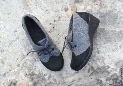 Обувь ручной работы. Ярмарка Мастеров - ручная работа. Купить Туфли из  серой шерсти. eaf27757673