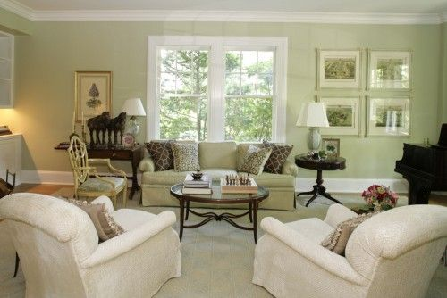 charming light green living room wall color | Light sage is a calming color in the living room...hmmmm ...