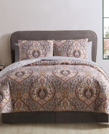 Brynn 8 Pc Queen Bed In A Bag Gray Damask Bedding Comforter