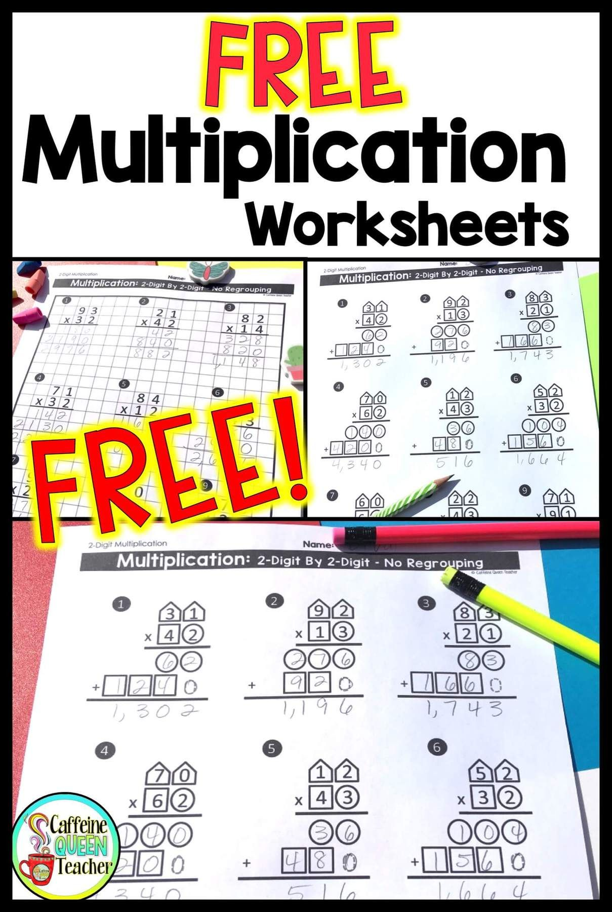2 Digit Multiplication Worksheets Differentiated In