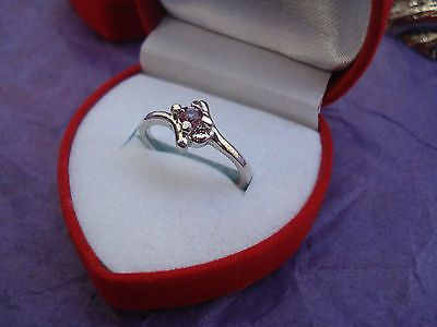 Pink Sapphire & Silver Ring-Size 6 Heart Gift Boxed GREAT Gift USA Seller