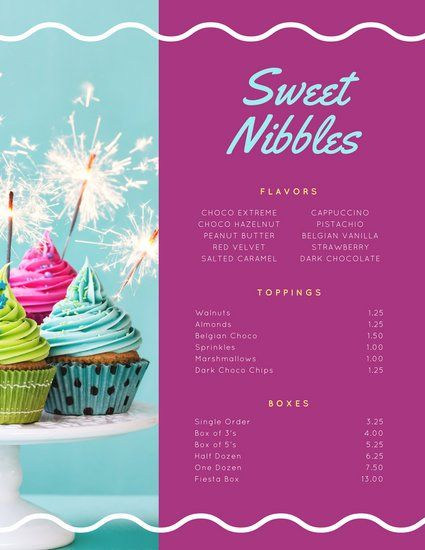 Dark Pink Turquoise Cupcake Dessert Menu Don Menus Pinterest