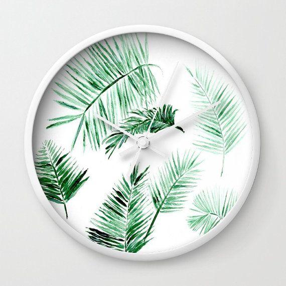 Palm Leaf Wall Clock, modern wall clock, tropical