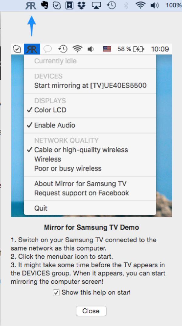 How to mirror macbook to samsung tv wirelessly