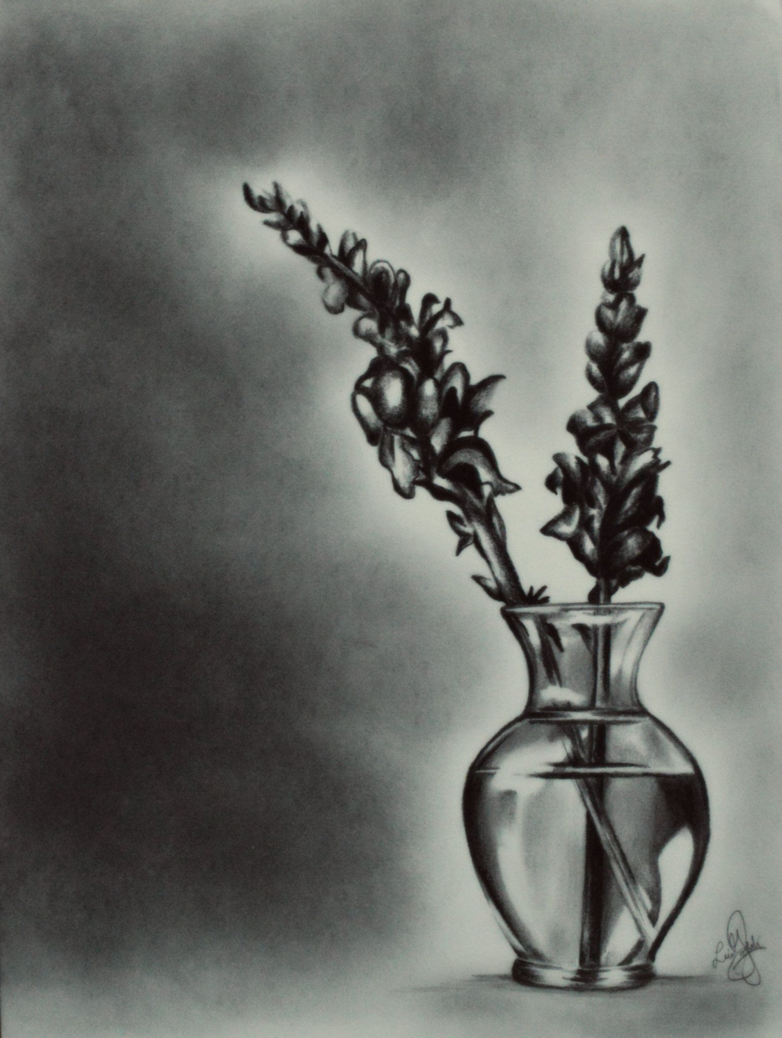 pencil drawing realistic flowers vase Flower vase
