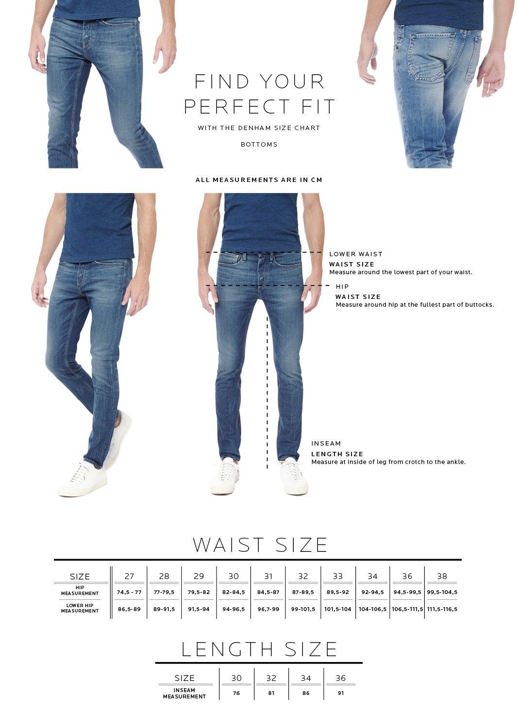 Size Chart Men's Bottoms - Fit Guide - DENHAM the Jeanmaker