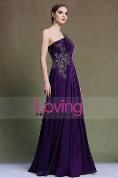 2015 Prom Dresses One Shoulder Floor Length With Applique&Ruffles #31331  (Color Just As Picture Show) $ 219.99 LDPHK8DHNE - LovingDresses.com