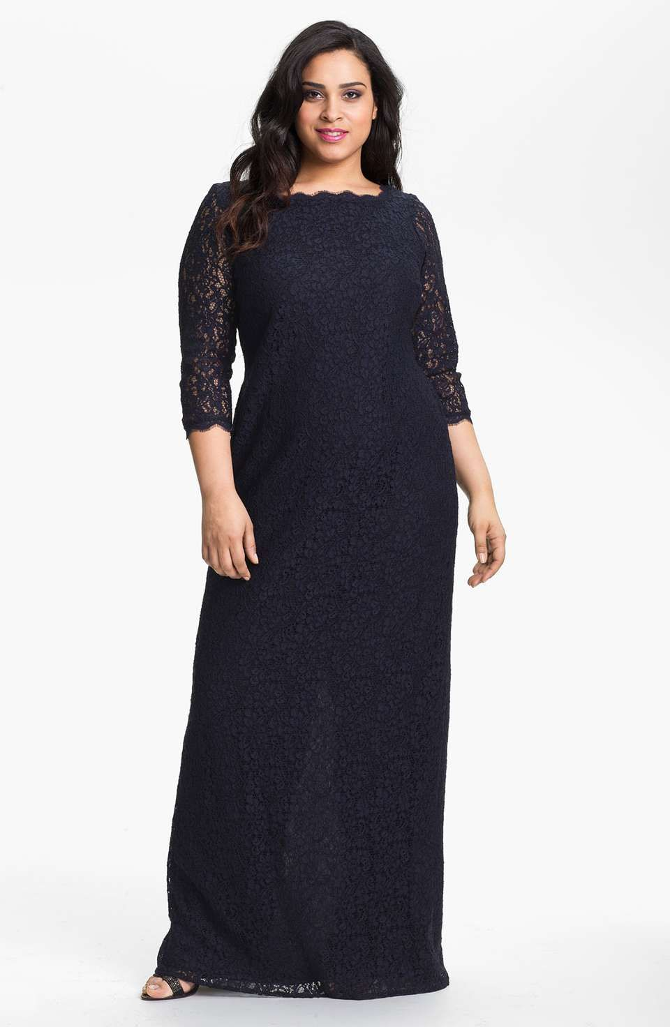 Adrianna papell scalloped lace gown plus size vestid fiesta