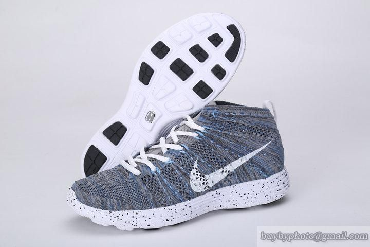 new concept abf75 42f21 Mens Nike Free FlyKnit Chukka High-Top Sneakers Gray Blue