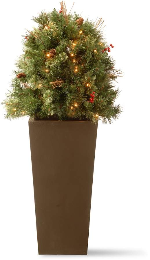 42487625210 National Tree Company 48-in. Pre-Lit Glistening Pine Artificial Potted Bush
