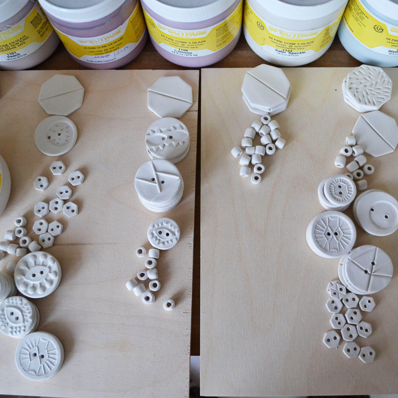 Choosing glazes for new handmade ceramic buttons www.aalicia.bigcartel.com