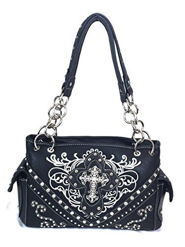 Zzfab Cross Embroidered Western Handbag Rhinestone Purse Black     Read  more at the image 1dd6b3f051cd8