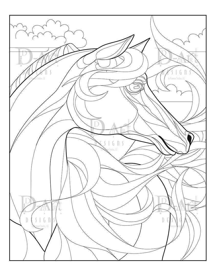 Fire Horse Coloring Page Horse Flowing Horse Main Horse Etsy Horse Coloring Pages Coloring Pages Horse Coloring [ 1080 x 840 Pixel ]