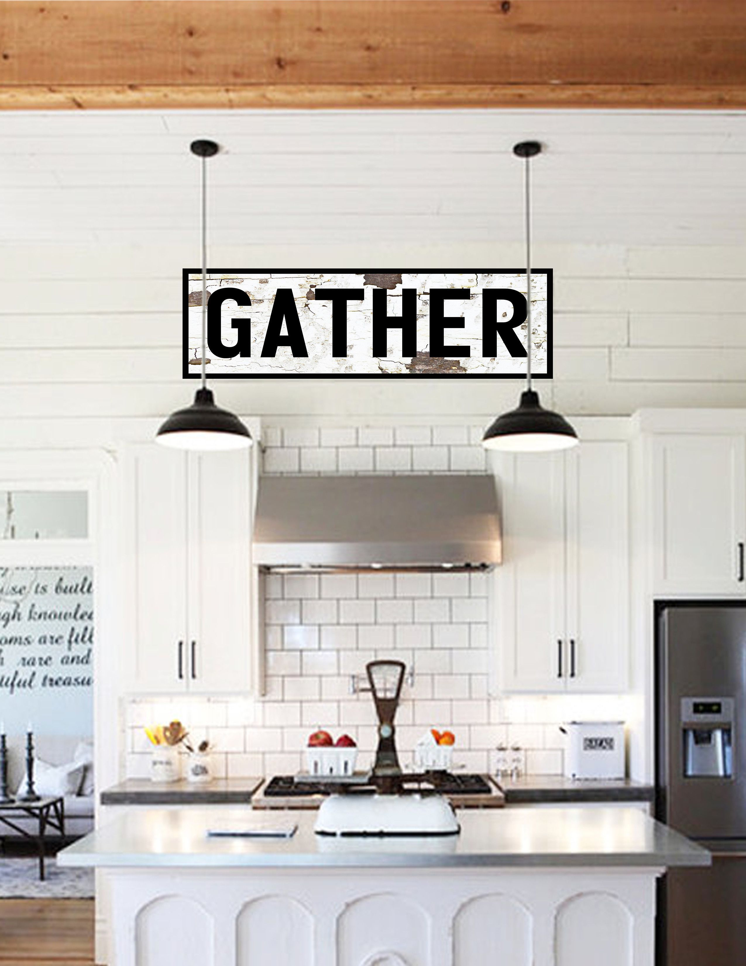 Gather vintage sign canvas wall art large gather canvas