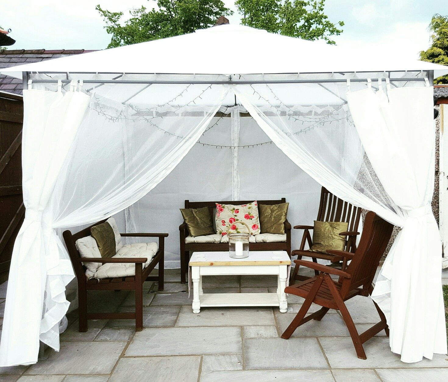 our new ikea gazebo perfect for relaxing in on a sunny afternoon. Black Bedroom Furniture Sets. Home Design Ideas