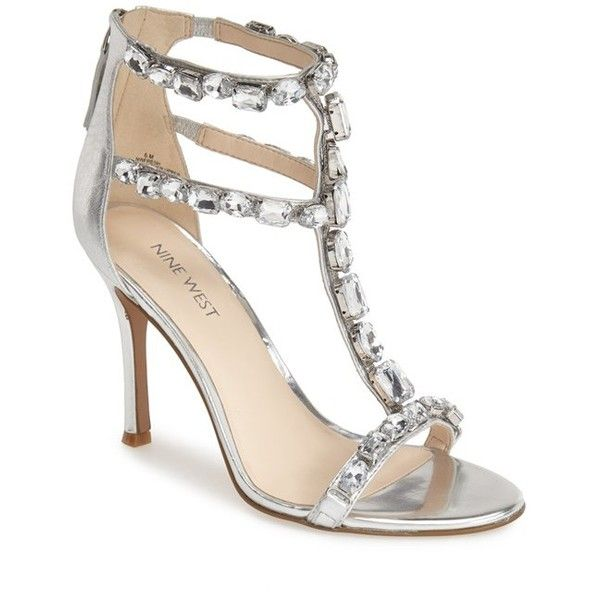 Nine West 'Fresh' Crystal T Strap Sandal, 4