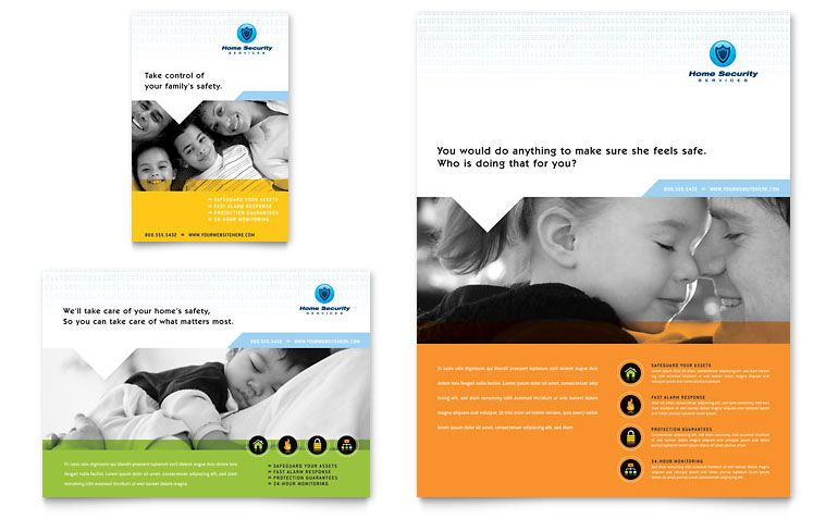 Home Security Systems Flyer U0026 Ad   Word Template U0026 Publisher Template  Flyer Format Word