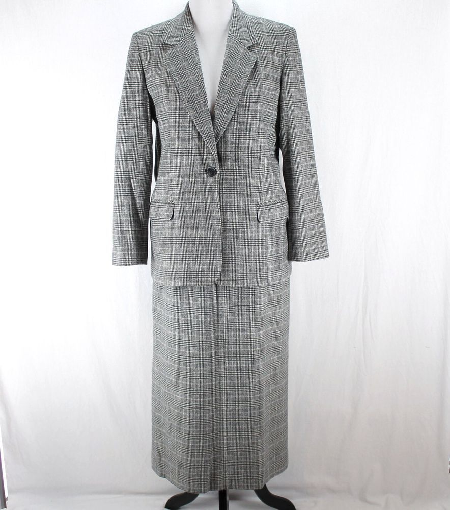Pendleton 2 Piece Suit Sz 8 Black White Plaid Blazer Skirt 100