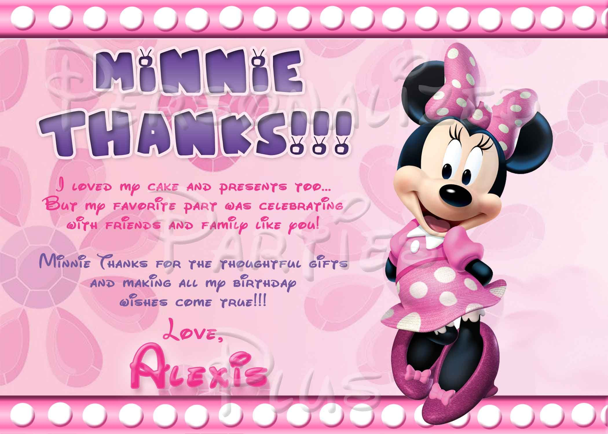 Minnie Mouse thank you cards | Minnie mouse, Mice and Birthdays