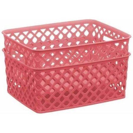 Mainstays Decorative Basket Small Pack Of 2 Pink