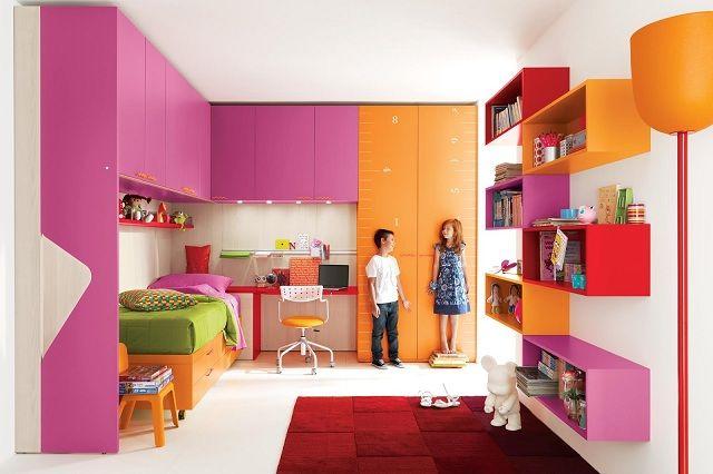 süßes Kinderzimmer einrichten orange rosa Hochbett ...