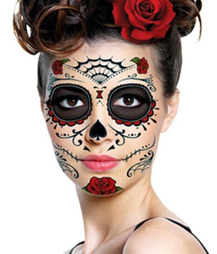 a07a662e3 ROSES DAY OF THE DEAD SUGAR SKULL FULL FACE TEMPORARY TATTOO KIT (1 ...