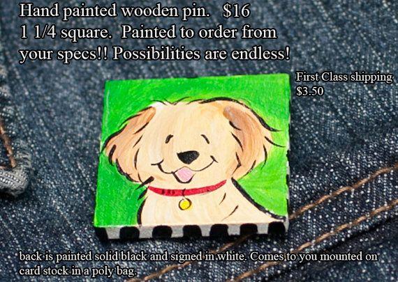 Golden Retriever hand painted wooden pin CUSTOM by JennysDogArt, $16.00