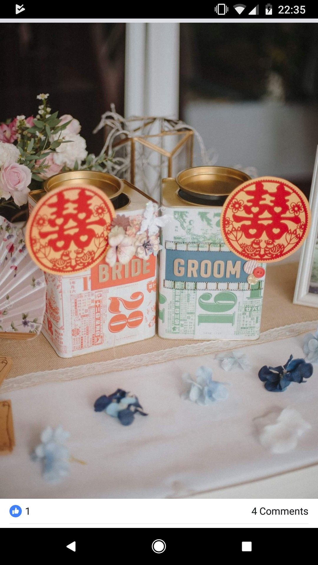 Biscuit Tin Ang Bao Box Chinese Wedding Tea Ceremony Oriental Wedding Chinoiserie Wedding