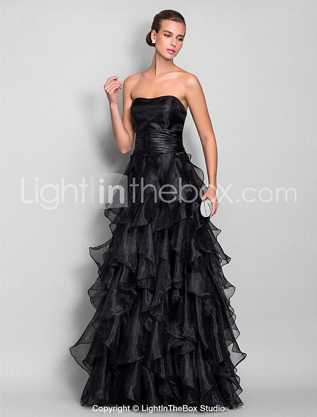 A-Line Sweetheart Floor Length Organza Prom / Formal Evening ...