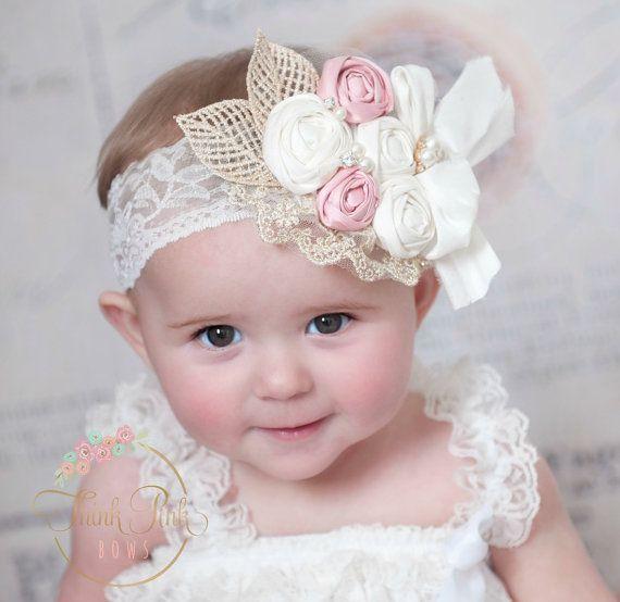 Diadema rosetn venda de la muchacha beb por ThinkPinkBows en Etsy