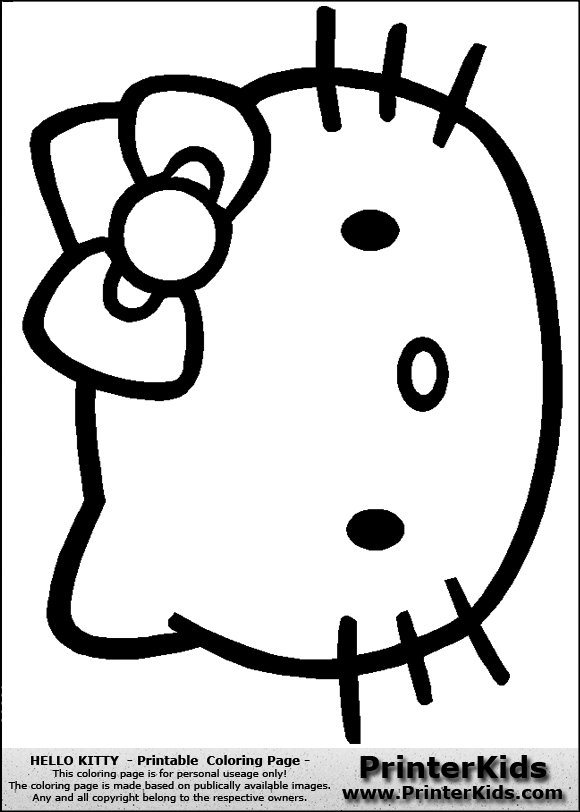 Printable Hello Kitty Face Coloring Page