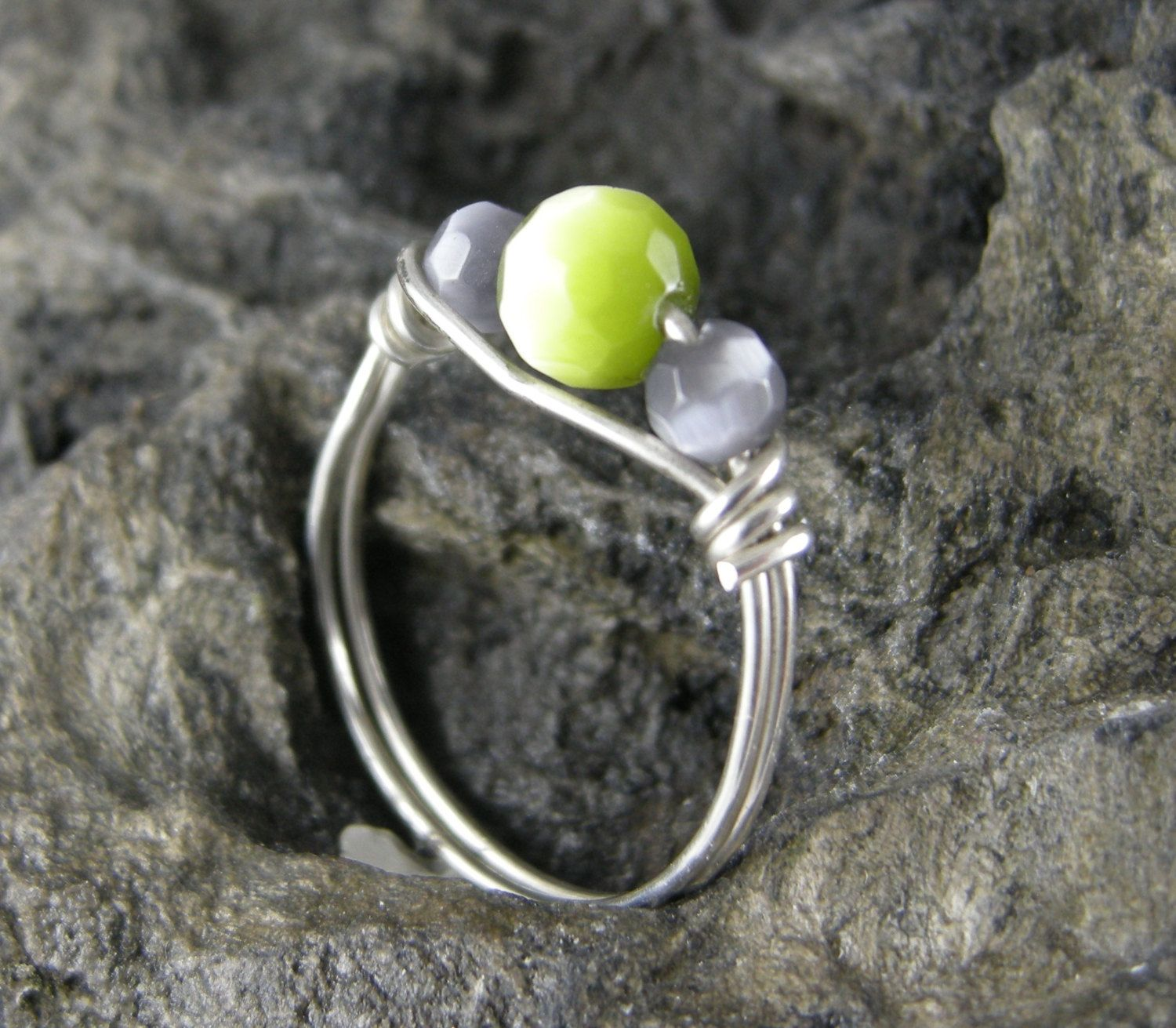 RING, WIRE WRAPPED, 6 mm Lime Green Faceted Fiber Optic Bead, Wire ...