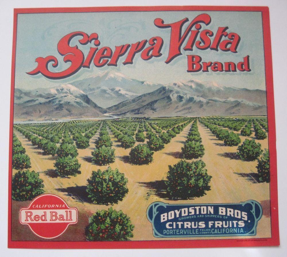Sierra Vista Orange Crate Label Boydston Bros. Porterville