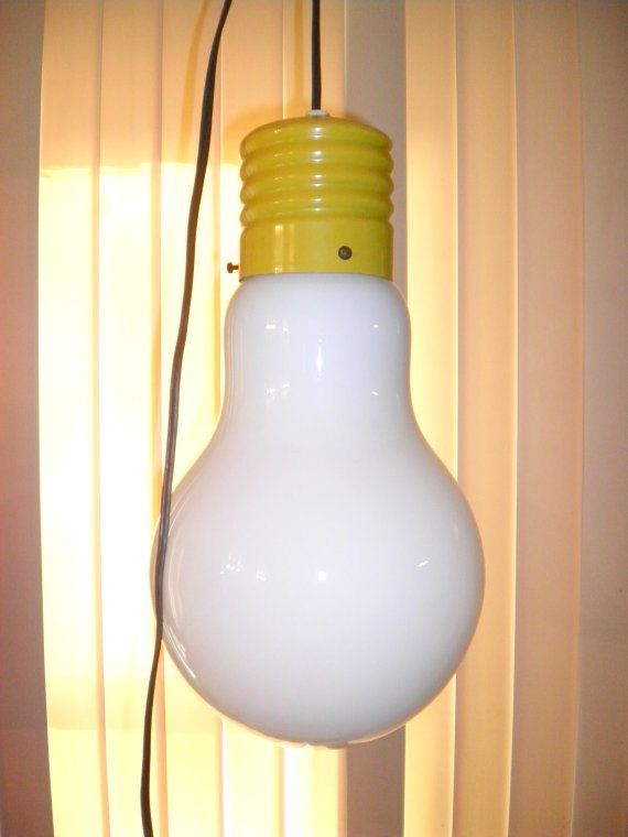 Mid Century 60s 70s Big Light Bulb Hanging Retro By Agelessfinds