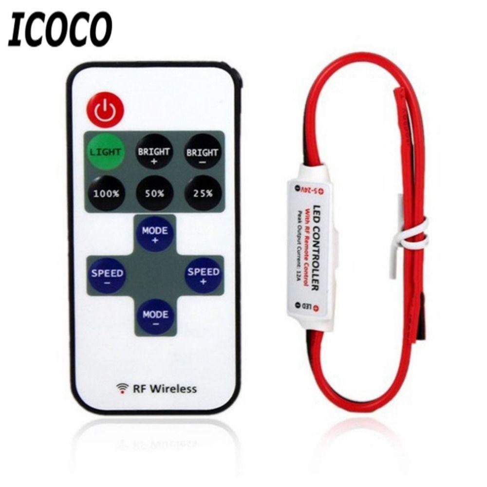 ICOCO 12 V RF LED Light Strip Mini Interruttore Regolatore