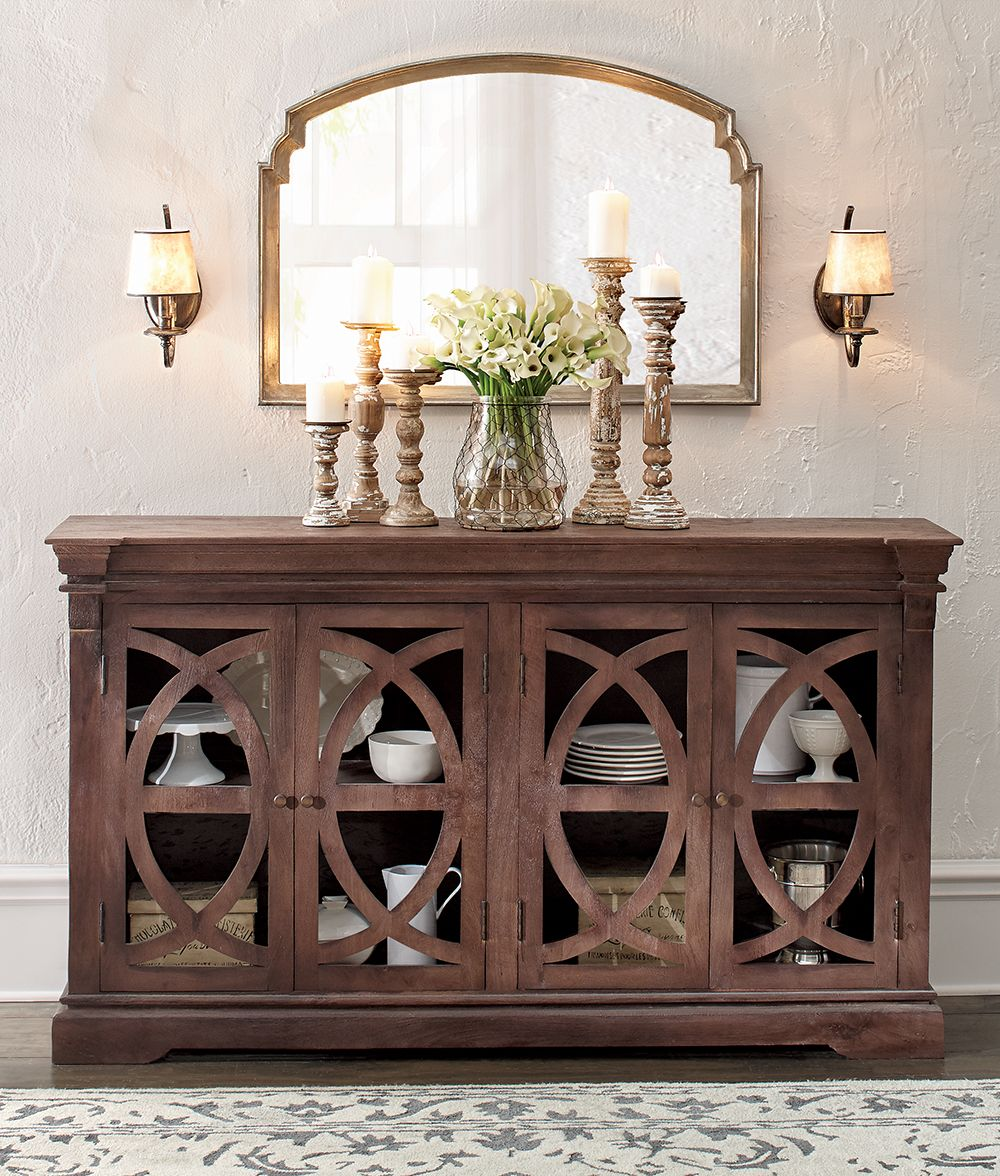 Complete A Sideboard S Look With A Stunning Mirror Like This One Dining Room Buffet Table Buffet Table Decor
