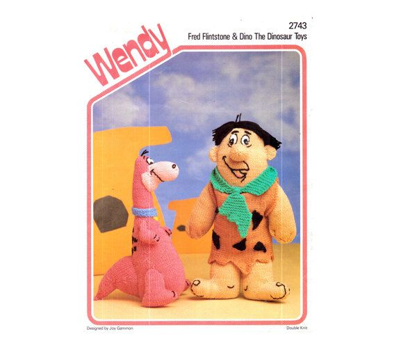 Genuine Vintage Wendy 2743 Fred Flinstone and Dino The Dinosaur Toys By Joy Gammon Knitting Pattern