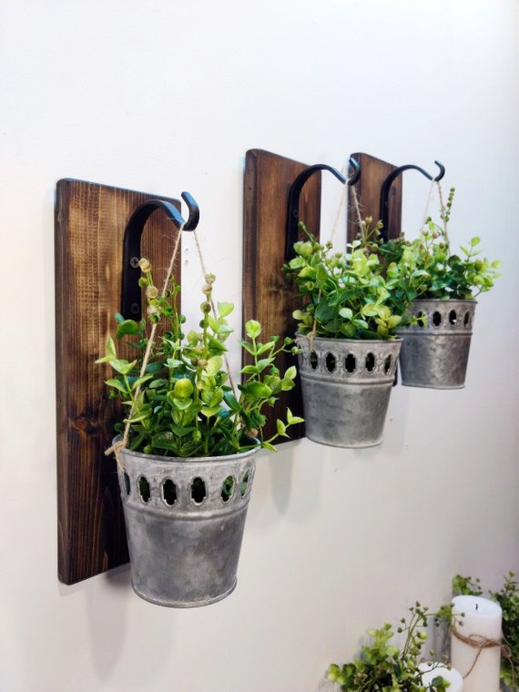 Galvanize Planters Hanging Wall Planters Galvanized Hanging Pots Rustic Wall Decor Metal Farmhouse Wall Decor Rustic Farmhouse Decor Hanging Wall Planters