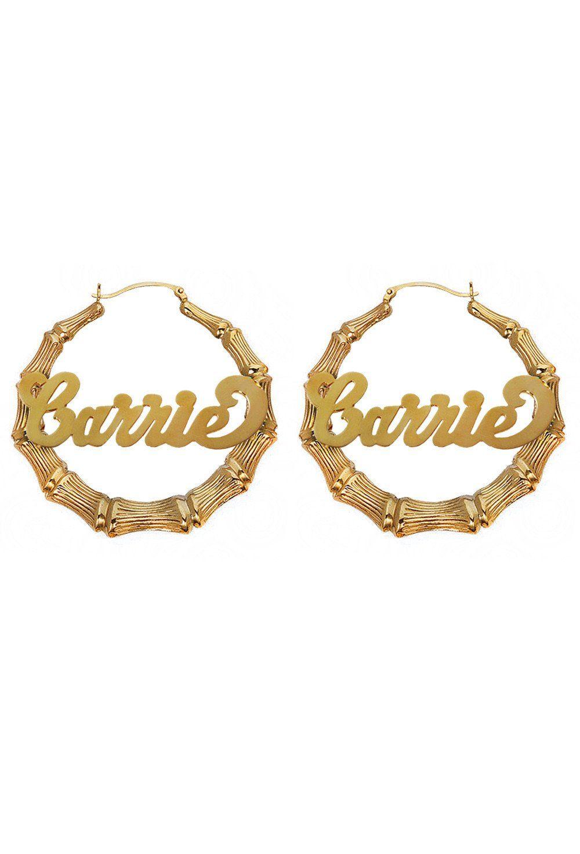 def93640a Custom Nameplate Bamboo Hoop Earrings 14K Gold | Jewels | Bamboo ...