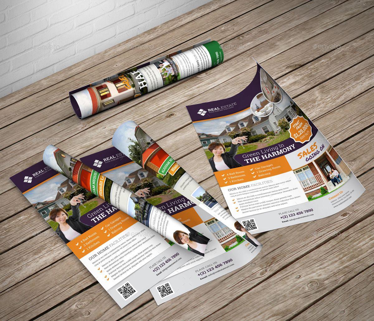 real estate flyer indesign template v2  with images