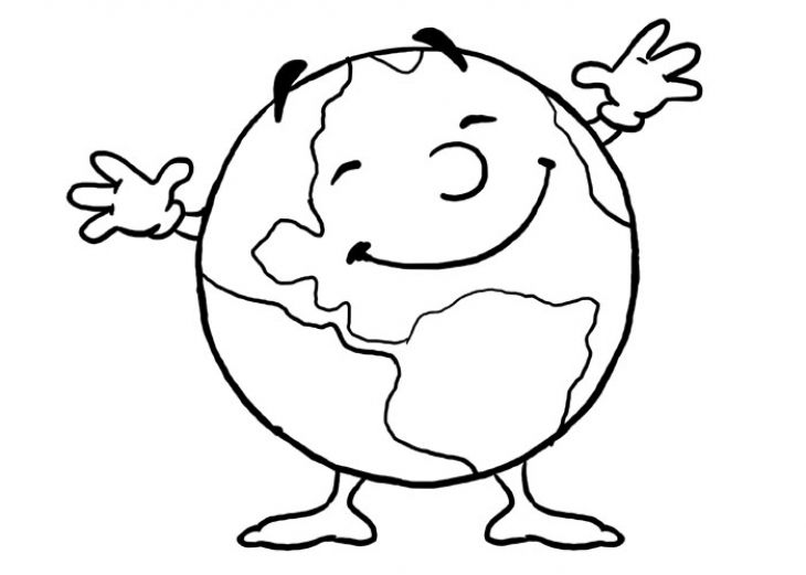 Happy Planet Earth Cartoon Coloring Page For Kids