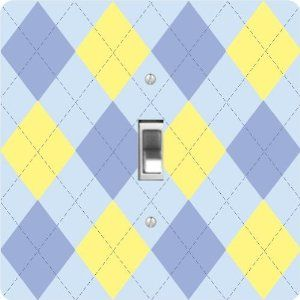 """Rikki KnightTM Blue & Yellow on Blue Argyle - Single Toggle Light Switch Cover by Rikki Knight. $13.99. The Blue & Yellow on Blue Argyle single toggle light switch cover is made of commercial vibrant quality masonite Hardboard that is cut into 5"""" Square with 1'8"""" thick material. The Beautiful Art Photo Reproduction is printed directly into the switch plate and not decoupaged which make these Light Switch Plates suitable for use in any room in the office, home, etc. etc....."""
