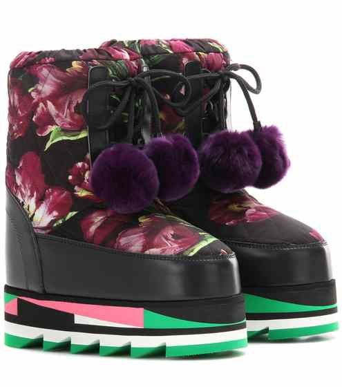 Floral-printed platform boots with fur | Dolce & Gabbana