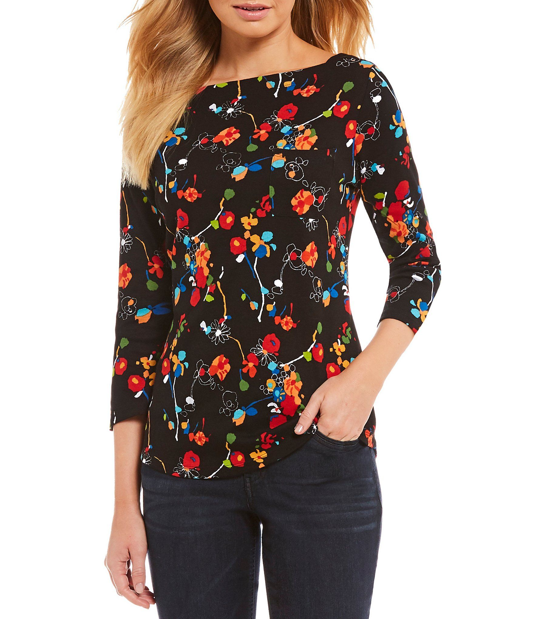 5f08c170d0a8ce Westbound 3 4 Sleeve Boatneck Top  Dillards Floral Tops