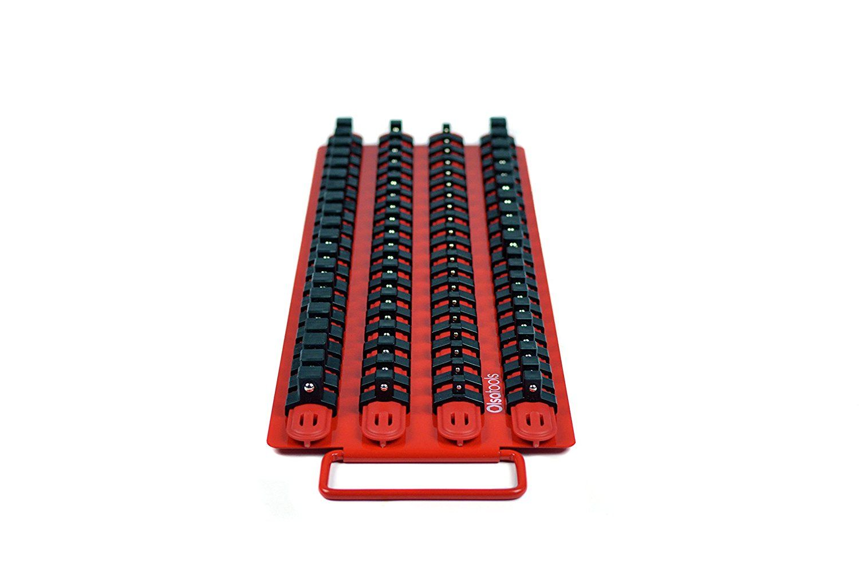 Amazon Com Olsa Tools Socket Organizer Tray Red Rails With Black Clips Holds 80 Pcs Sockets Automo Socket Organizer Tray Socket Organizer Tools Sockets