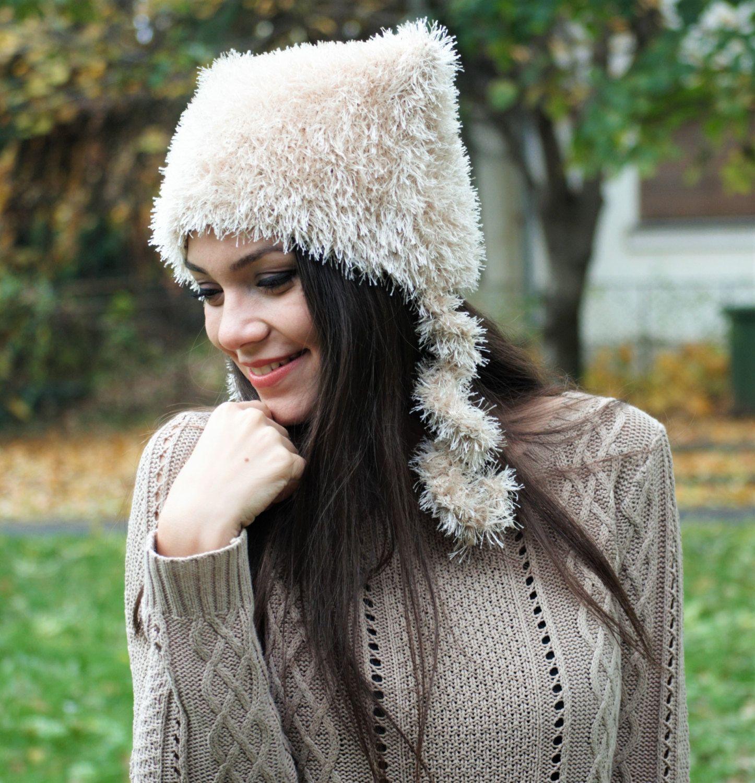 light beige hand knit fluffy cat ear hat, ear flap knit women cap