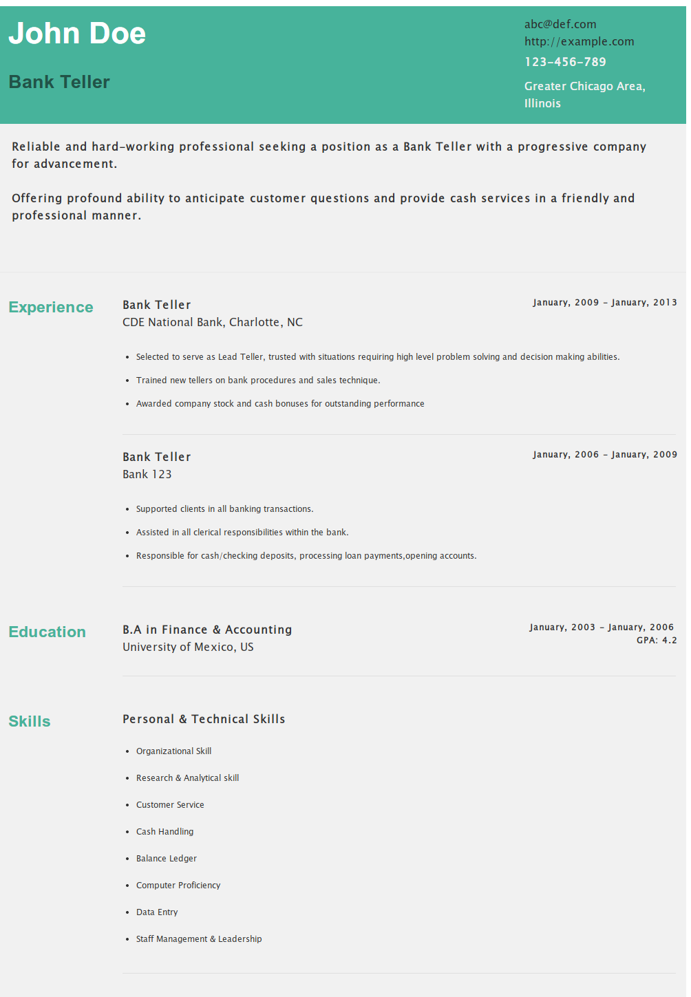 Resume Of Bank TellerPersonal Banker HttpsHipcvComAbcRBank