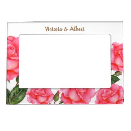 Watercolor Pink Roses Botanical Illustration Magnetic Picture Frame ...